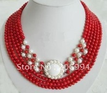 wholesales design Charming 6 Rows Red Coral White Pearl Clasp Necklace lowest fashion jewelry,gift free shipping(China (Mainland))