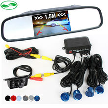 3in1 Car Video Reverse Parking Sensor Assistance Connect Rear view Camera Can Display Distance on 4.3 Inch Car Mirror Monitor(China (Mainland))