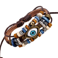 Male Pulceras Mujer Hombre Female Handmade Leather Hamsa Fatima Bracelet Men Genuine Leather Evil Eye Braclet LB013