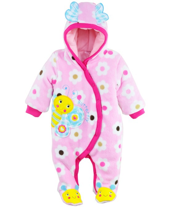 BEE Baby cotton padded Thick Rompers Footies One Pieces Romper with Hat warm body Babywear Fleece girls Bodysuits Outfits W166<br><br>Aliexpress