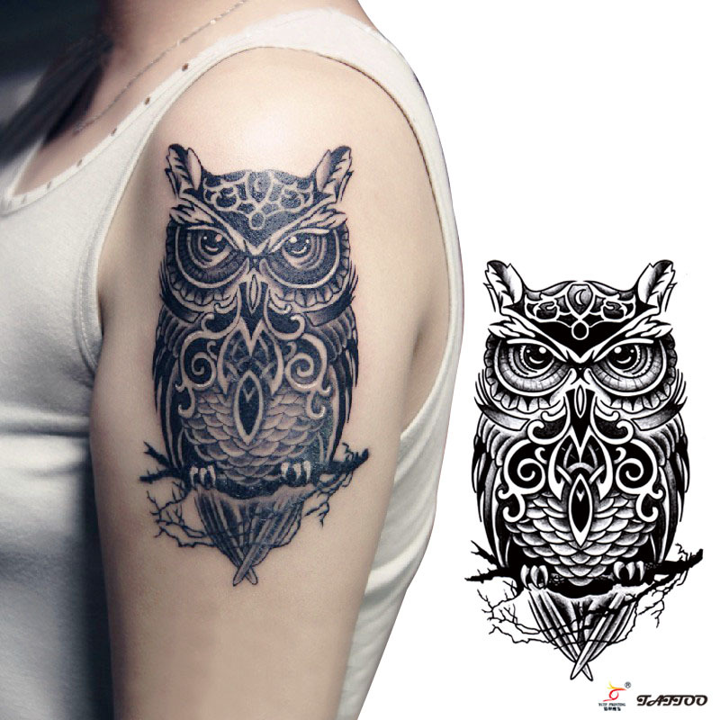 temporary tattoos large black owl arm fake transfer tattoo stickers hot sexy men women spray. Black Bedroom Furniture Sets. Home Design Ideas