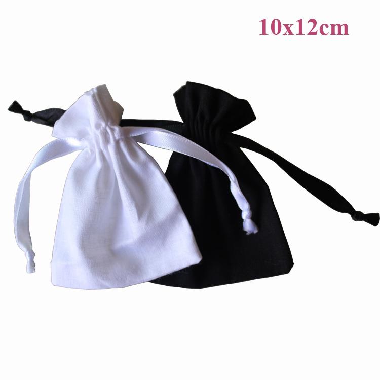 customize size & logo (50pcs/lot)10x12cm/4x4.7inch black 100% cotton drawstring promotional bags white/bleach drawstring pouch(China (Mainland))