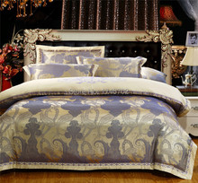 Warm love 2015 HOT!!!Elegant jacquard bedding set 4pc lace edge bed cover export quality duvet cover bed set(China (Mainland))