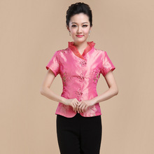Summer New Chinese Style Women Satin Tang Suit Tops Blouse Vintage Traditional Chinese Shirt M L XL XXL XXXL 4XL T14