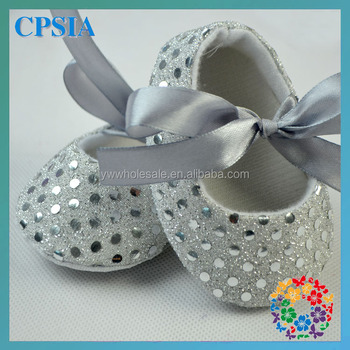 2014 Sequin shoes with ribbon baby crib shoes bling 4 sizse silver crib shoes baby fabric shoes 120pairs/lot free shipping