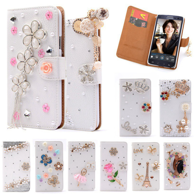 Гаджет  S3 Luxury Wallet Stand Flip PU Leather Diamond Girl Bowknot Cosmetic Mirror Case For Samsung Galaxy S 3 III I9300 Handmade Cover None Телефоны и Телекоммуникации