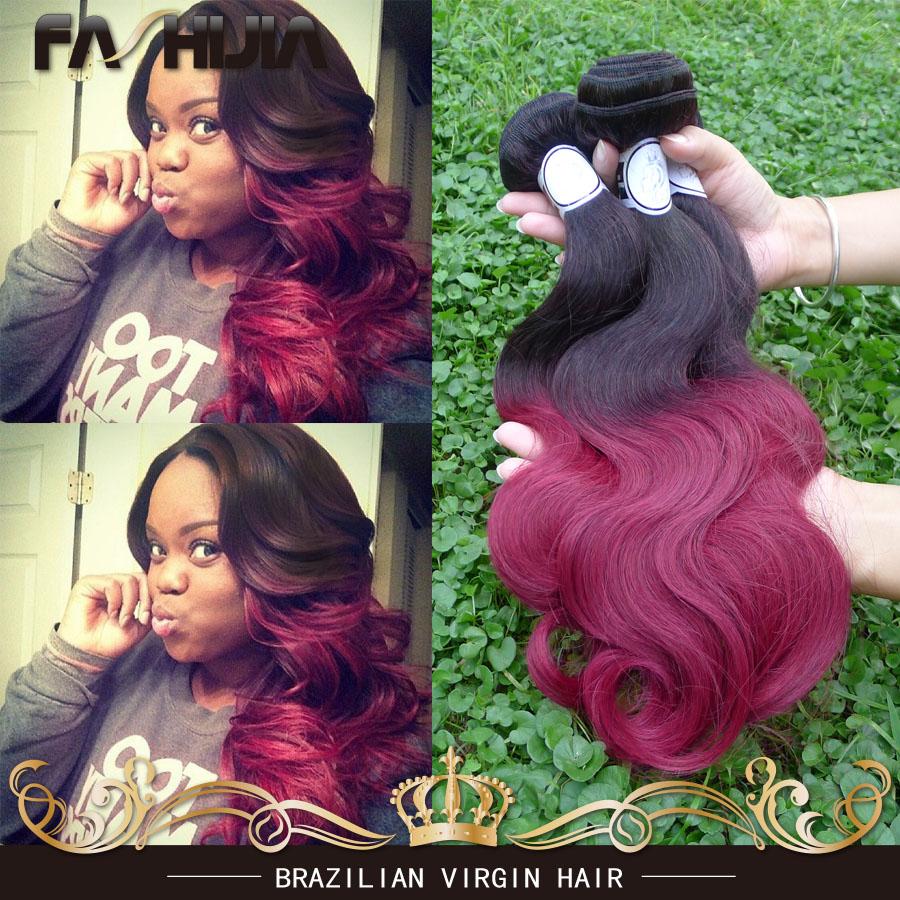 Yvonne Hair 8A Grade Brazilian Virgin Hair Body Wave 1B Burgundy Red  2 Tone Ombre Brazilian Hair 4 Bundles Mixed 10-30Body Wave<br><br>Aliexpress