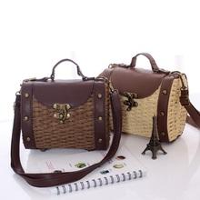 Женщины в сумочка деревенский солома ротанг мешок наплечная сумка 5 цветов барабан сумки трикотаж пляж сумки