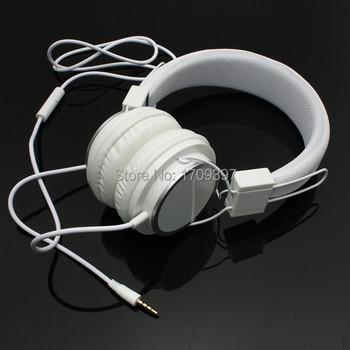 Новый высокое качество мода белый цвет регулируемая повязка на голову наушники наушники 3.5 мм с микрофоном для iPod для пк для мобильного телефона