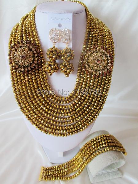 Fashion Nigerian African Wedding Beads Jewelry Set ,Crystal Necklace Bracelet Earrings Set A-6398<br><br>Aliexpress