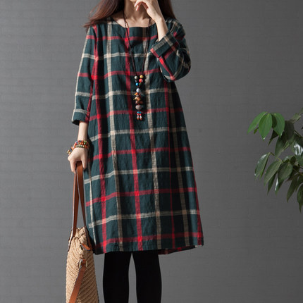 FASHION KNITTING Women s Clothing Free Shipping NEW 2016 SPRING Dress font b Tartan b font