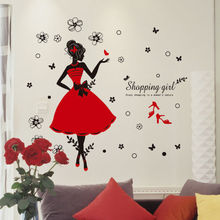 Wearing Dress Fashion Girl Wall Sticker For Bedroom Room Peel and Stick Kids Girl Room Decoration Art Mural(China (Mainland))