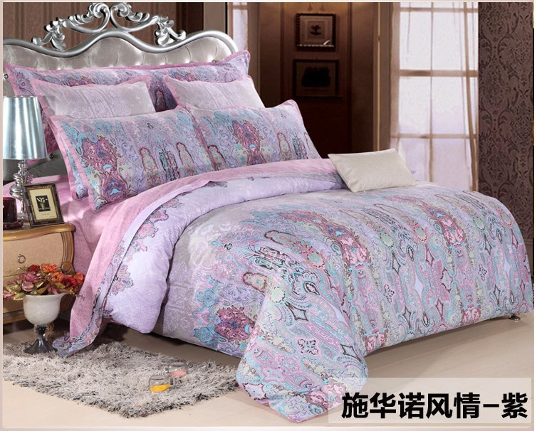 Luxury Egyptian cotton purple bedding set fitted sheets king queen size quilt duvet cover brand bed in a bag bedroom bedsheets 4(China (Mainland))