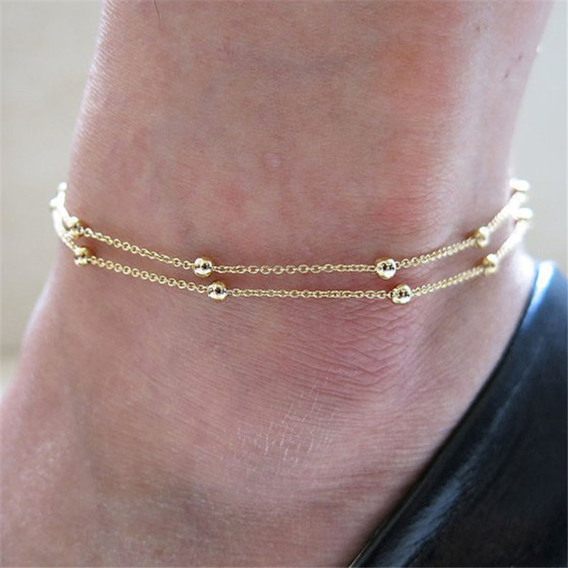 Delicate Fashion New Retro Simple Women Sexy Gold Double Foot Chain Anklet Ankle Bracelet Barefoot Beach Foot Jewelry My30(China (Mainland))