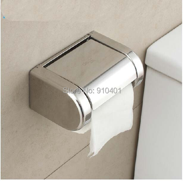 Hot Sale! Modern Square Polished Chrome NEW Chrome Stainless Steel Bathroom Toilet Paper Holder Tissue Box(China (Mainland))