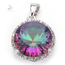 Romantic Rainbow Mystic Topaz fashion Vintage Silver Plated Promotion Recommend Hot Pendants R736(China (Mainland))