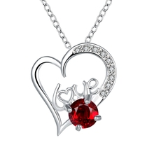 Best hot sale new 925 stamped silver plated Necklace LOVE Letter heart with Zircon Pendant Necklace for woman girl Wedding gift(China (Mainland))