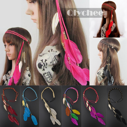 2015 new fashion accessories hair band indian peacock feather pendant headband golden leaves rope knitted belt elastic hairband(China (Mainland))