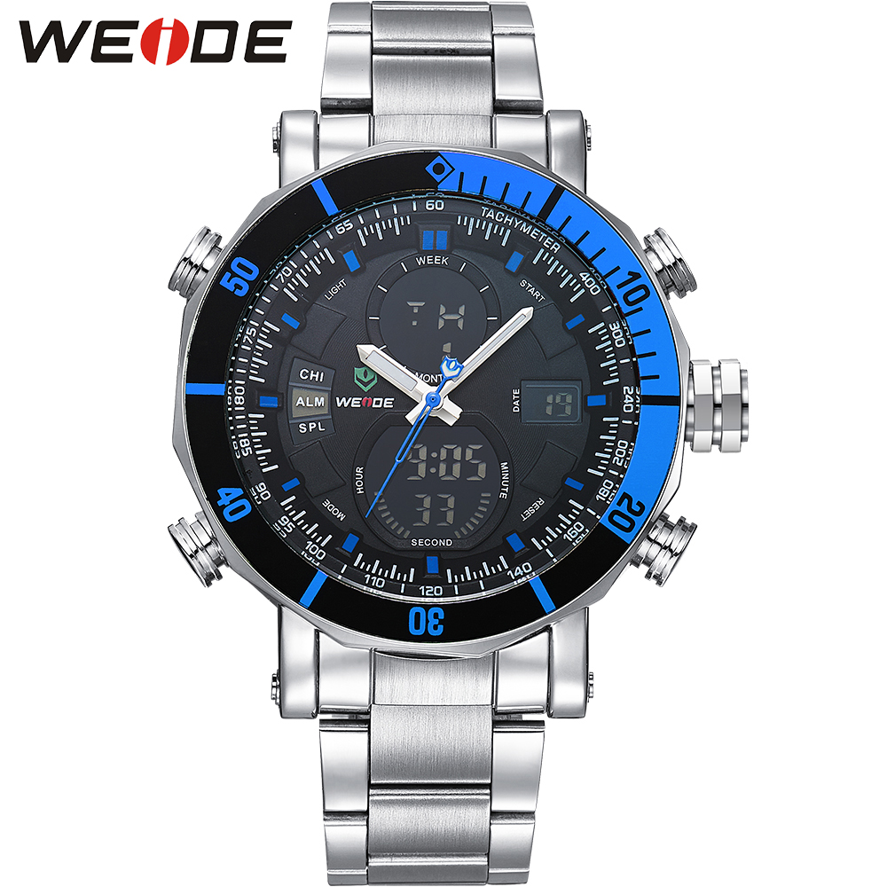 WEIDE Men Auto Date 30m Waterproof Casual Clock Watch Stainless Steel Silver Band Analog-digital Display Sports Wristwatches