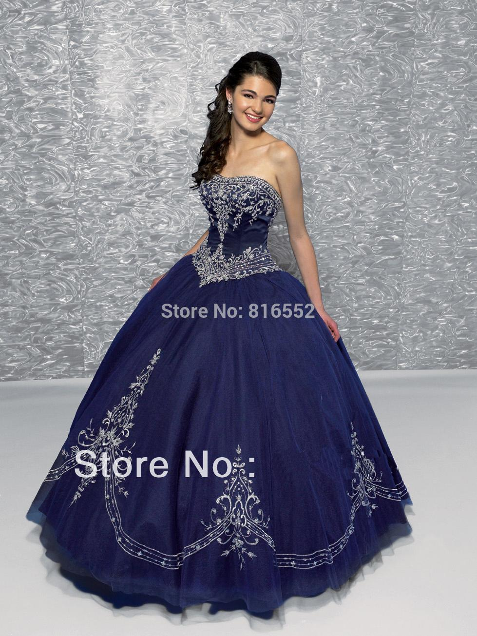 Quinceneara Dresses with Sleeves Navy Blue