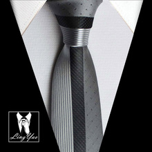 TOP luxury skinny tie NEW designers novelty necktie silver with black dots & stripes high quality woven(China (Mainland))
