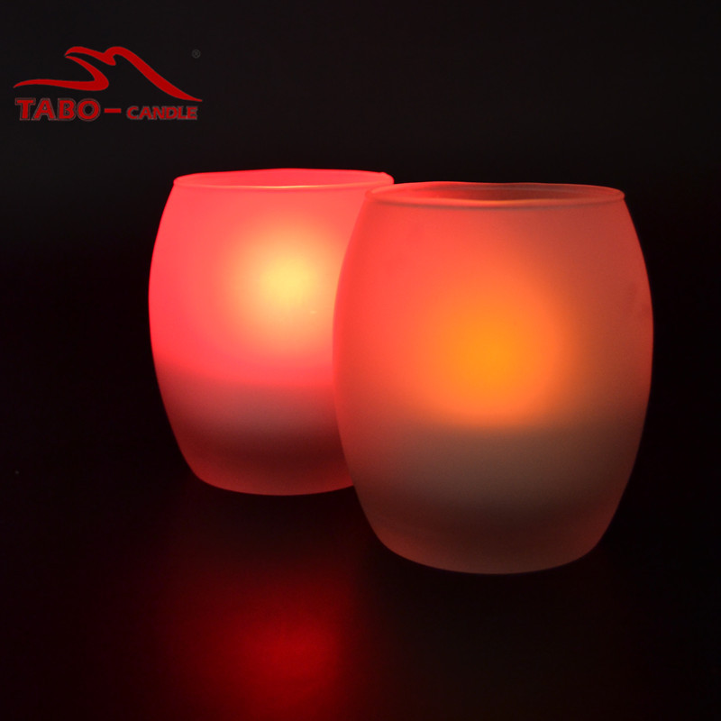 Color Changing LED Tealight Candle with Glass Holder Votive LED Tealight Candle with Glass Holder(China (Mainland))