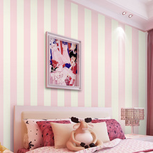 Simple vertical striped wallpaper non-woven wallpaper warm living room bedroom children's room princess pink wallpaper(China (Mainland))