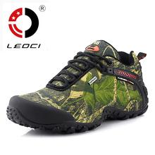 LEOCI Waterproof Hiking Shoes Men Canvas Trekking Boots Sport Outdoor Shoes Mountain Climbing Fishing Hunting Boots Size 40-45