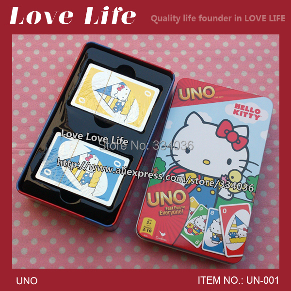 Free shipping!Hello Kitty UNO card game playing card paper card family fun WITH LONG METAL BOX UN-001(China (Mainland))