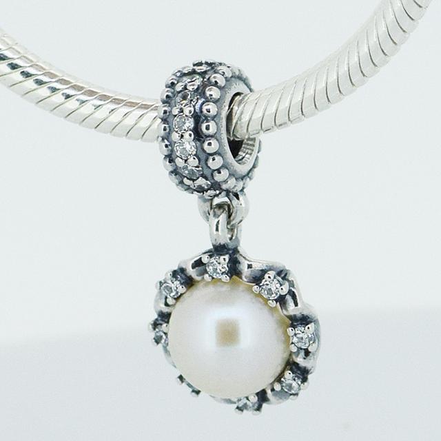 Новый 925 стерлингового серебра вечная грейс белый пресной воды перл подвески подвески бусины подходит европейский стиль украшений шарм браслет