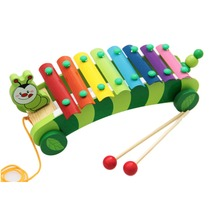 8 Scales Caterpillar Trailer Xylophone Hand Knock Piano Wooden Educational Toy for Baby Kids Chilrden(China (Mainland))