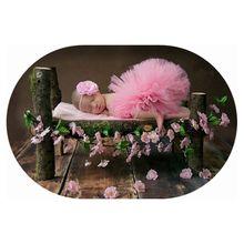 2016 Infant pink Tutu skirt summer girl ball gown Newborn photography pros Lace Floral headband girls tutu ballet skirt GCL0182(China (Mainland))