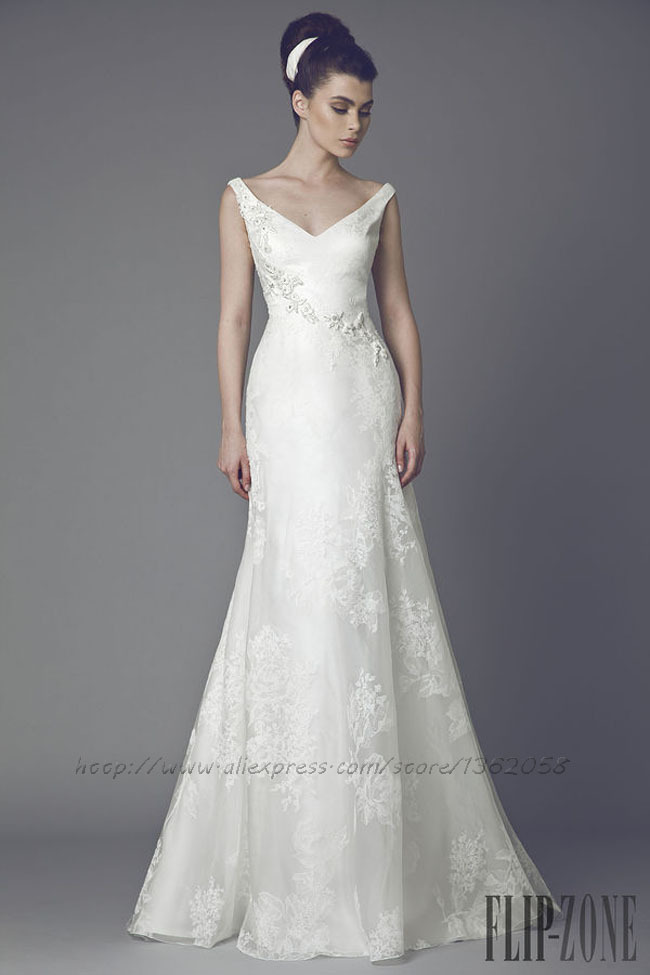 2014 Tony Ward Sleeveless Appliqued Mermaid Wedding Dress(China (Mainland))