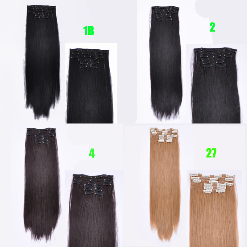 Synthetic Hair with Clips 16 Clip in Hair Extensions False Hair Hairpieces Synthetic 24″ Long Straight Apply Hairpiece