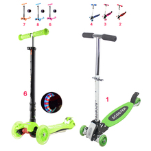 Adjustable Foldable Child Tricycle Kids Kickboard Scooter With/Without LED Light 4 Wheel Mini Ride On Toy(China (Mainland))