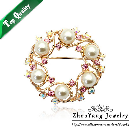 ZHOUYANG ZYX005 Elegant Six Imitation Pearl  Rose Gold Plated Sky Wheel Brooches Jewelry Austrian Crystal  Wholesale