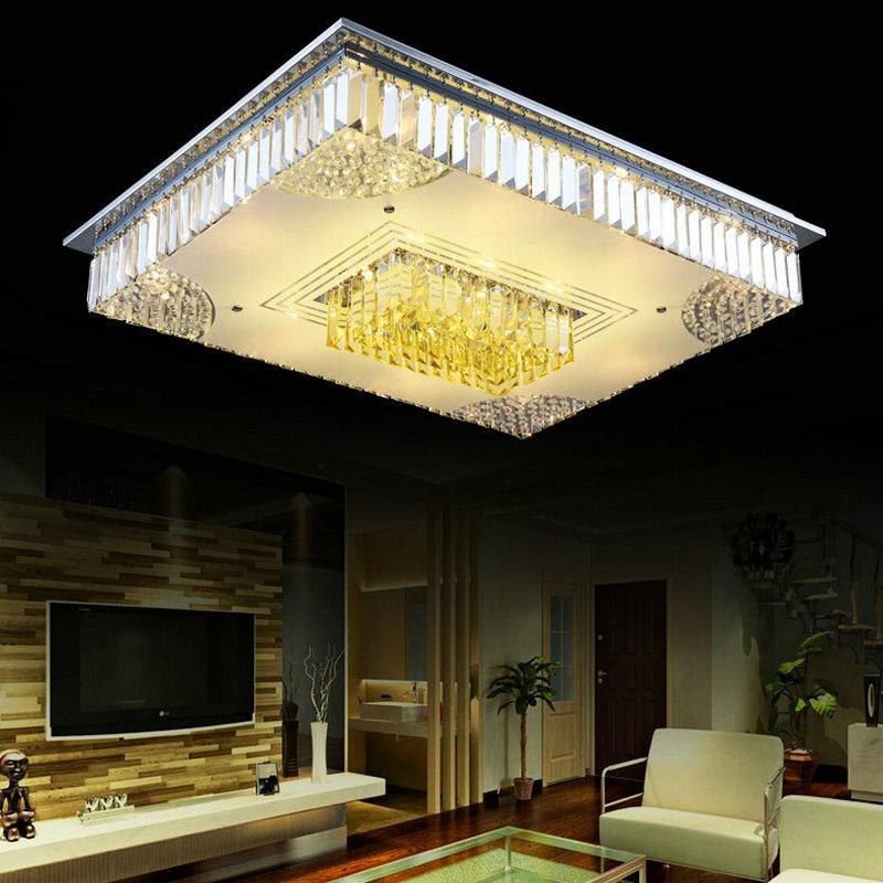 square modern crystal flush mount ceiling lamp foyer