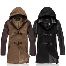 2014 New England Fashion Long Coats Men Hooded Woolen Autumn Winter OverCoat Black Brown Mens Casual Jackets