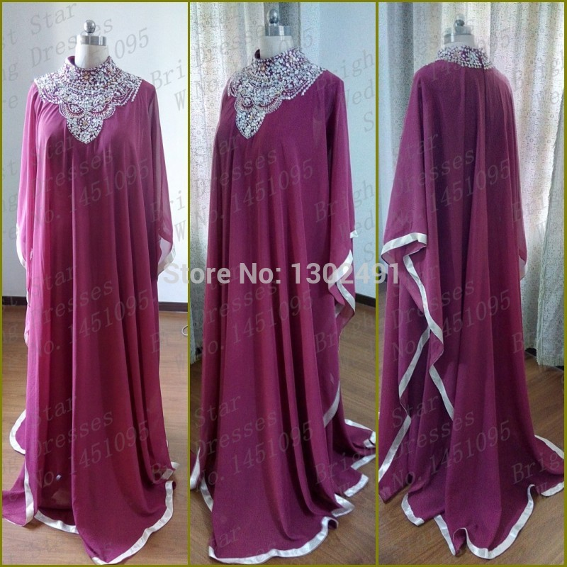 Real Picture 2015 A Line HIgh Neck Purple Prom Dresses Beaded Abaya in Dubai Islamic Clothing for Women Muslim Evening Dress(China (Mainland))