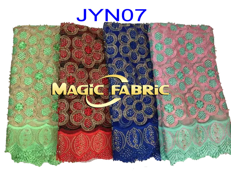 African French Net Lace Fabric High Quality 2016 New Arrival Tulle Mesh Fabric With Beads JYN07(China (Mainland))