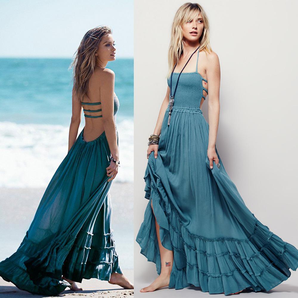 Beach dress sexy dresses boho bohemian people dress summer long blackless cotton women party hippie chic vestidos mujer 2016(China (Mainland))