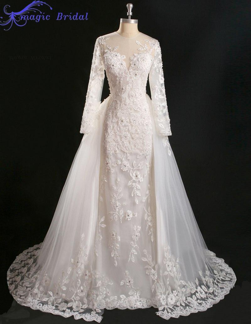 Vestido de noiva princesa real vintage lace long sleeve for Wedding dress detachable skirt