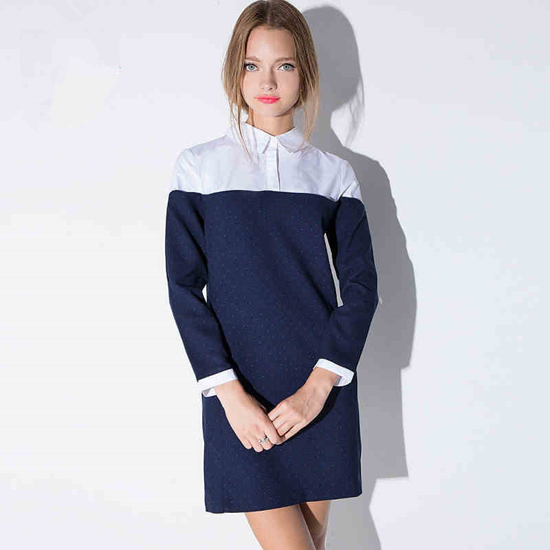 Fashion navy blue wave point hit color patchwork shirt for Zip up dress shirt
