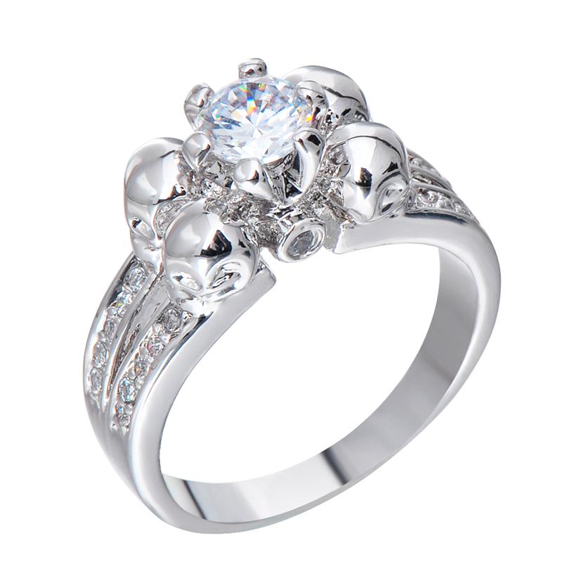 Elegant White Sapphire Skull Zircon Ring Women Men Halloween Jewelry White Go