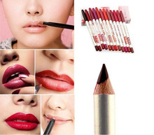 12Pcs Beauty Cosmetics Eye Shadow Waterproof Eyeliner Lipliner Pen Pencil Makeup Pen Draw Eyebrows Maquillage lip Easy Tool(China (Mainland))