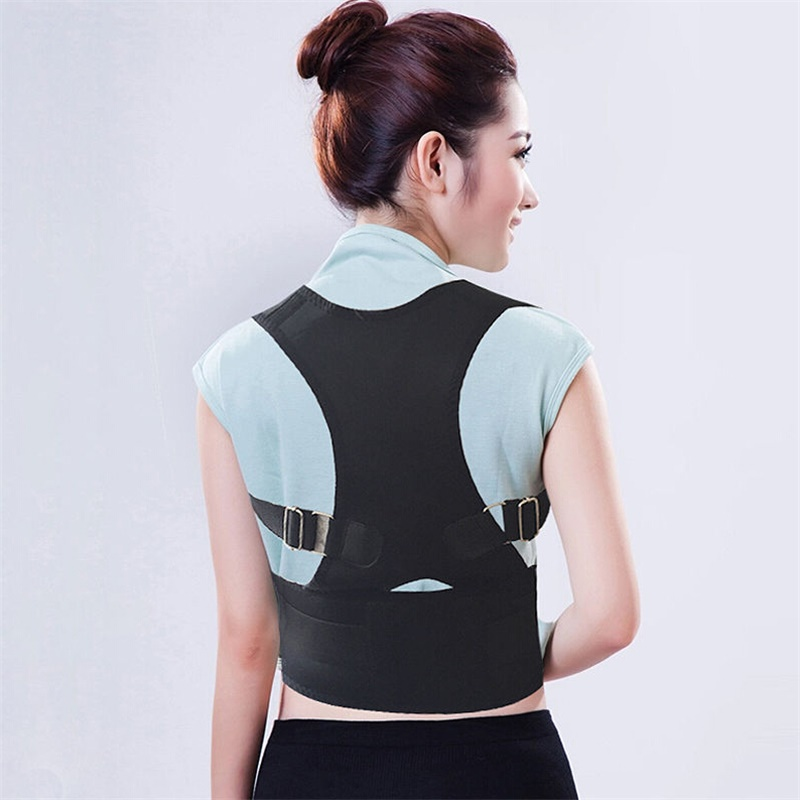 Adjustable Lower Waist Back Spine Support Brace Shoulder Posture Corrector Belt Black B002(China (Mainland))