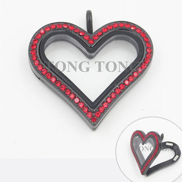 New Heart Magnetic Closure Black 316L Stainless Steel Floating Charm Lockets with Red Crystals<br><br>Aliexpress