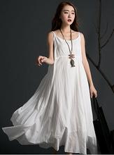 New summer women bohemian beach spaghetti strap long dresses sleeveless solid color irregular maxi dress for gril 85125(China (Mainland))