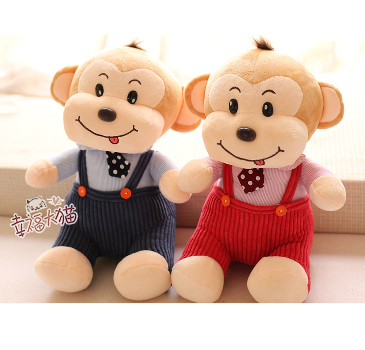 a pair of small size creative bib monkey toys plush blue and red bib monkey dolls with tie gift about 32cm(China (Mainland))