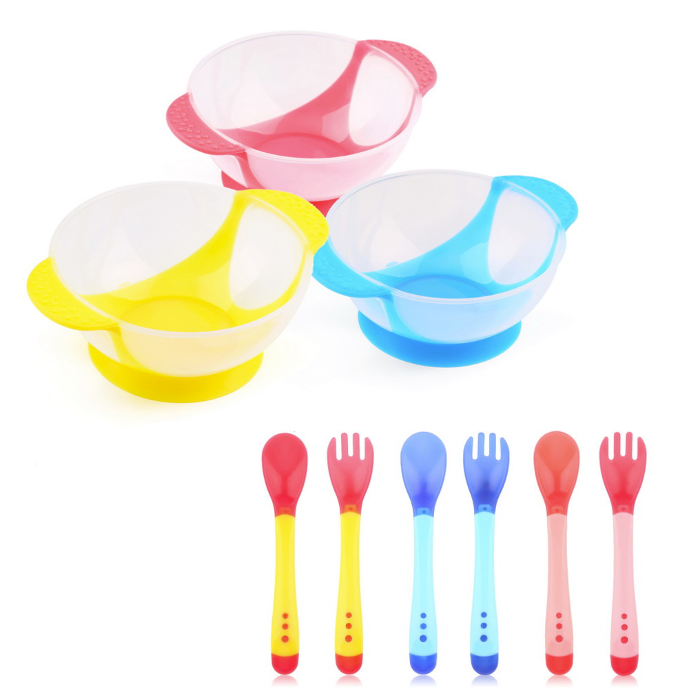 Baby Infants feeding Bowl With Sucker and Temperature Sensing Spoon Suction Cup Bowl Slip-resistant Tableware Set Wholesale(China (Mainland))